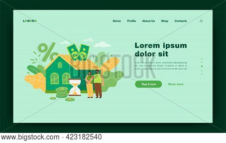 People Buying Home With Mortgage Loan Flat Vector Illustration. Young Couple Paying Credit To Bank F