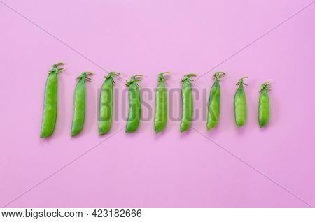 Green Peas On A Pink Background. View From Above. Pop Art Design, Creative Concept Of Summer Food. G