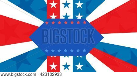 Blue banner with copy space against american flag design background. american independence day template background design concept