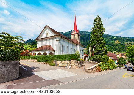 The Parish Of St. Mary Church In Weggis. Weggis Is A Town On The Northern Shore Of Lake Lucerne In T