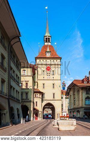 Kafigturm Is A Landmark Medieval Clock Tower In Bern City In Switzerland