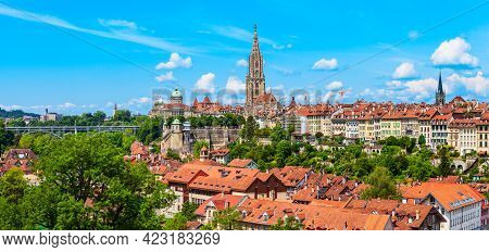 Bern City Aerial Panoramic View. Bern Is The Capital Of Switzerland.