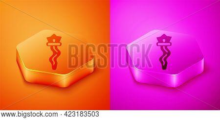 Isometric Magic Staff Icon Isolated On Orange And Pink Background. Magic Wand, Scepter, Stick, Rod.