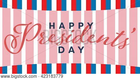 Happy president day text over pink banner against blue and red stripes on white background. american patriotism and president day celebration concept