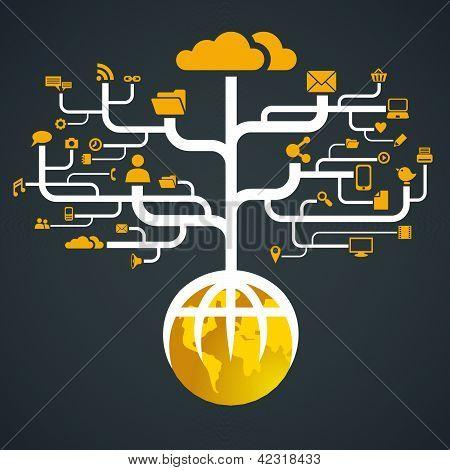 social media icon network globe worldwide