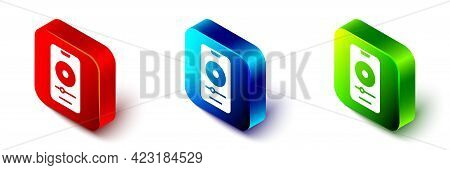 Isometric Music Player Icon Isolated On White Background. Portable Music Device. Red, Blue And Green