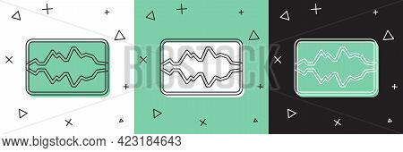 Set Music Wave Equalizer Icon Isolated On White And Green, Black Background. Sound Wave. Audio Digit