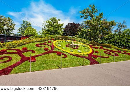 Flower Clock Or L'horloge Fleurie Is A Symbol Of The City Watchmakers, Located In Jardin Anglais Par