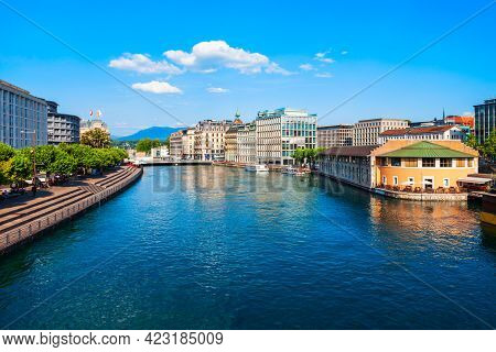 Geneva City Centre Aerial Panoramic View. Geneva Or Geneve Is The Second Most Populous City In Switz