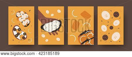 Sandwiches Illustrations Set In Bright Colors. Colorful Set Of Various Toasts Isolated On Orange Bac