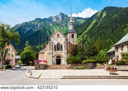 Saint Michel Or St. Michael Catholic Church In The Chamonix Mont Blanc Town In France