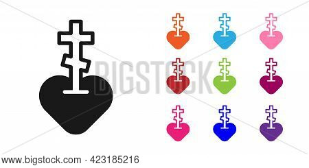 Black Religious Cross In The Heart Inside Icon Isolated On White Background. Love Of God, Catholic A
