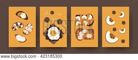 Collection Of Sandwiches Illustrations In Modern Style. Colorful Set Of Different Toasts On Orange B