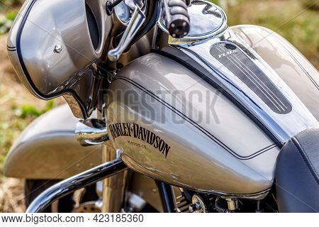 Kaniv, Ukraine - June 5, 2021:nice Harley Davidson Bike Close Up. A Festival Motorcycle Internationa