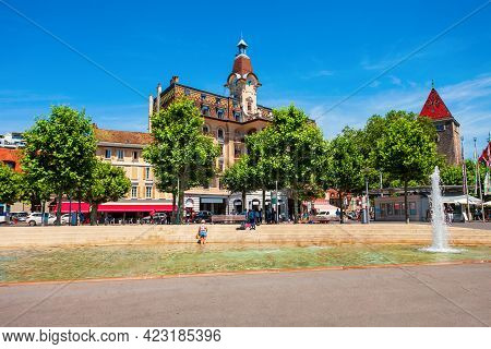 Place De La Navigation Square In Lausanne Or Losanna Capital City And Biggest Town Of Vaud Canton, L
