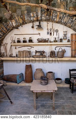 Koufonisi Island, Cyclades, Greece. Folklore Museum With Old Traditional Exhibits.