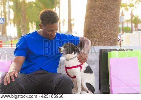 Casual Man Sitting On A Bench With A Puppy. Boy Cuddling His Dog On Bench Near Mall Center. Animals