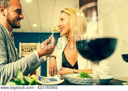Portrait Of Attractive, Cute, Sweet, Lovely, Festive, Cheerful Couple. Man Feeding His Woman, Giving