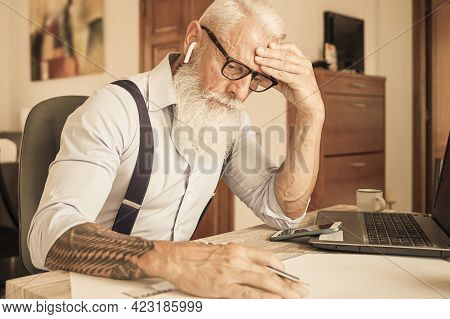 Tired Worker, Headache, Engineer Working In House. Job And Medicine Concept.