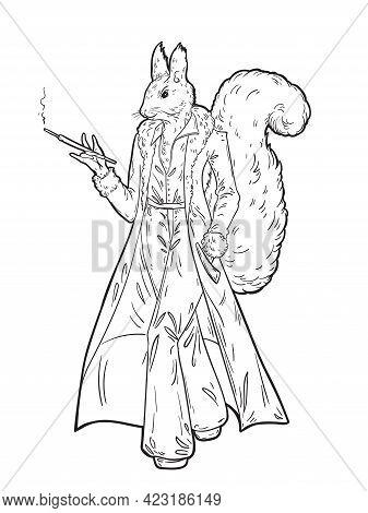 Anthropomorphic Squirrel In Fur Coat Smokes A Cigarette In A Cigarette Holder. Black And White Vecto