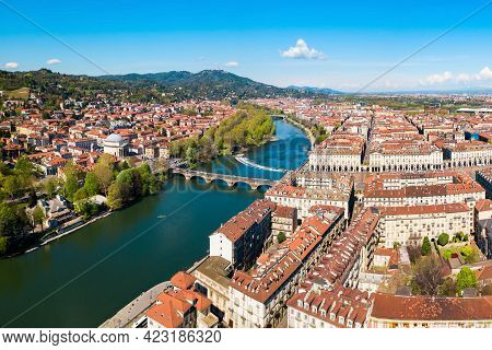 The Po River Aerial Panoramic View In The Centre Of Turin City, Piedmont Region Of Italy