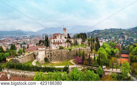 Brescia Castle Aerial Panoramic View. Castle Of Brescia Is A Medieval Castle Locate Atop Cidneo Hill