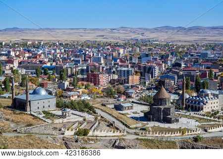 Panoramic View Onto Kars (turkey) From Walls Of Kars Castle. Main Popular Tourist Attractions Are On