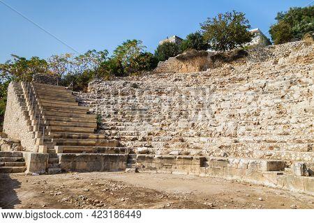 Remains Of Roman Theater In Ancient City Elaiussa Sebaste, Near Kizkalesi, Turkey. It Was Built In 1