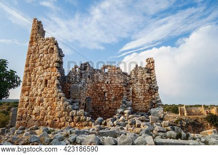 Ruins Of Hellenistic Tower In Ancient City Kanli Divane Or Canytelis, Ayaş, Turkey. Building Was Ded
