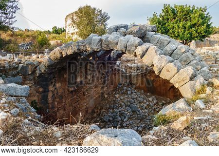 Remains Of Big Underground Room In Ancient City Kanli Divane Or Canytelis, Ayaş, Turkey. It Was Used