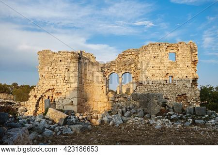 Ruins Of Building (probably Church) Lighted By Sunlight In Ancient City Kanli Divane Or Canytelis, A