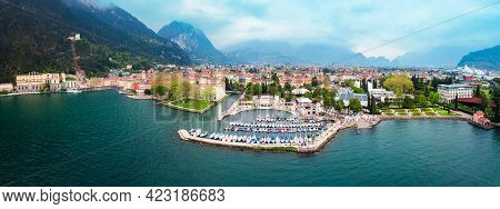 Riva Del Garda Port Aerial Panoramic View. Riva Is A Town At The Northern Tip Of The Lake Garda In T