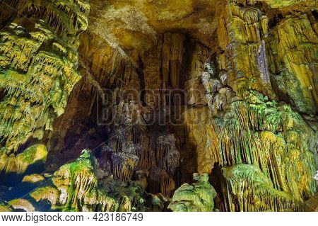 Limestone Formations Inside Cave Astim Or Asthma, Kizkalesi, Turkey. It's Large Underground Karst Ca