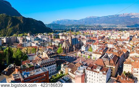 Bolzano Aerial Panoramic View. Bolzano Is The Capital City Of The South Tyrol Province In Northern I