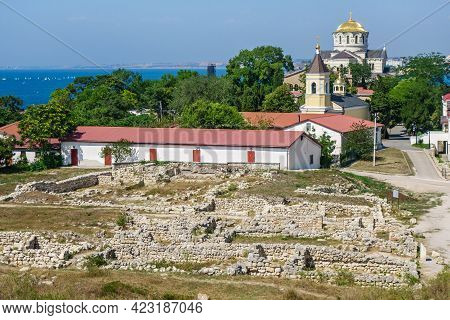 Ruins Of Houses In Residential Block Of Chersonesus, Ancient City Founded By Greeks. Church Of Seven