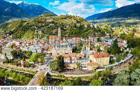 Merano City Centre Aerial Panoramic View. Merano Or Meran Is A Town In South Tyrol In Northern Italy