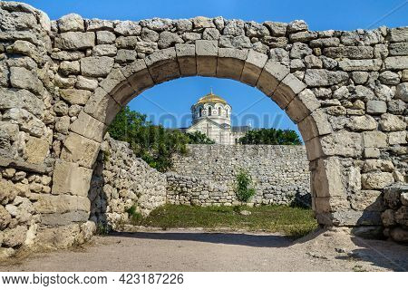 Golden Dome Of Vladimir's Cathedral As It Looks Through The Street Arch In Antique City Chersonesus,
