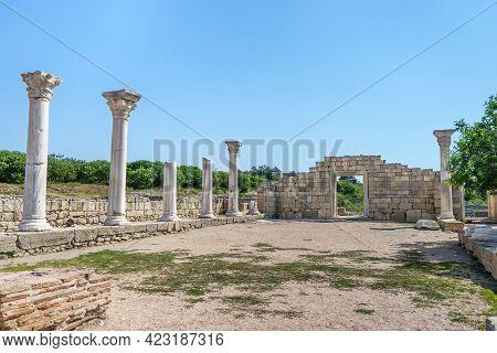 Remains Of Basilica Of 6th Ad In Ancient City Chersonesus, Sevastopol, Crimea. Church Named 'basilic