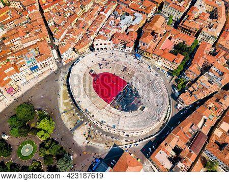 Verona Arena Aerial Panoramic View. Arena Is A Roman Amphitheatre In Piazza Bra Square In Verona, It