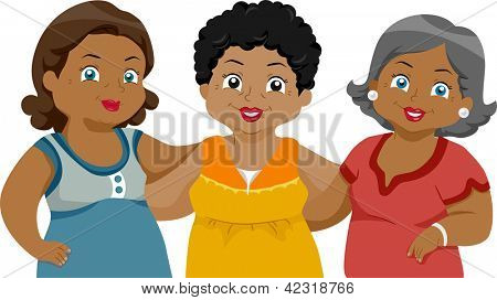 Illustration of African-American Senior Citizens Friends