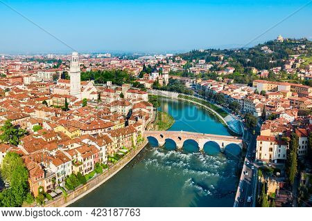 Santa Anastasia Church And Verona Cathedral Aerial Panoramic View In Verona, Veneto Region In Italy