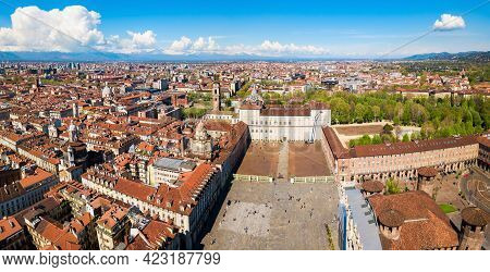 Piazza Castello Or Castle Square Aerial Panoramic View, A Main Square In The Centre Of Turin City, P