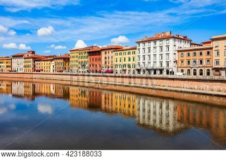 Colorful Houses At The Arno River Waterfront In The Centre Of Pisa City In Tuscany, Italy