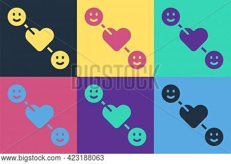 Pop Art Romantic Relationship Icon Isolated On Color Background. Romantic Relationship Or Pleasant M
