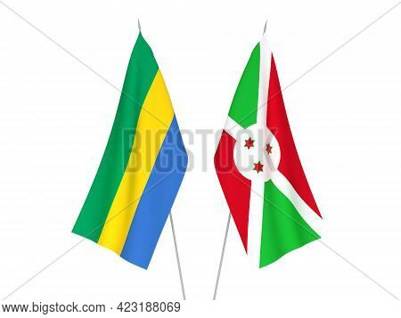 National Fabric Flags Of Gabon And Burundi Isolated On White Background. 3d Rendering Illustration.