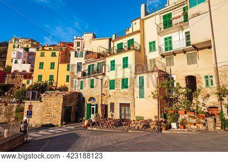 Corniglia Is A Small Town In Cinque Terre National Park, La Spezia Province In Liguria Region, North