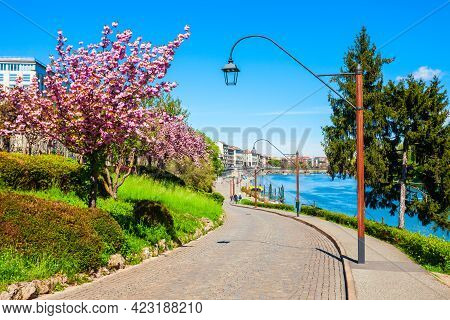 Public Park Near The Po River Waterfront In Turin City, Piedmont Region Of Northern Italy