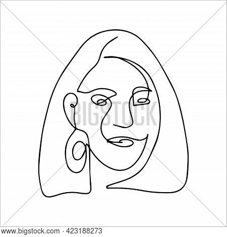 Simple Contour Silhouette Of The Face. Vector Illustration Of A Face In One Line Style. Logo For A B