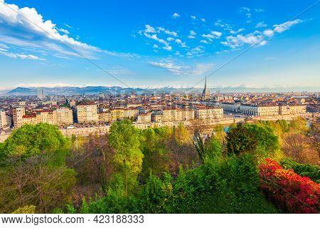 Turin City Aerial Panoramic View, Piedmont Region Of Italy