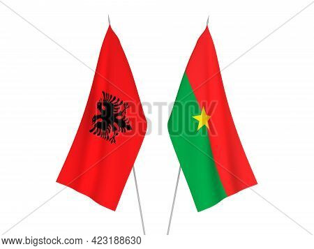 National Fabric Flags Of Republic Of Albania And Burkina Faso Isolated On White Background. 3d Rende
